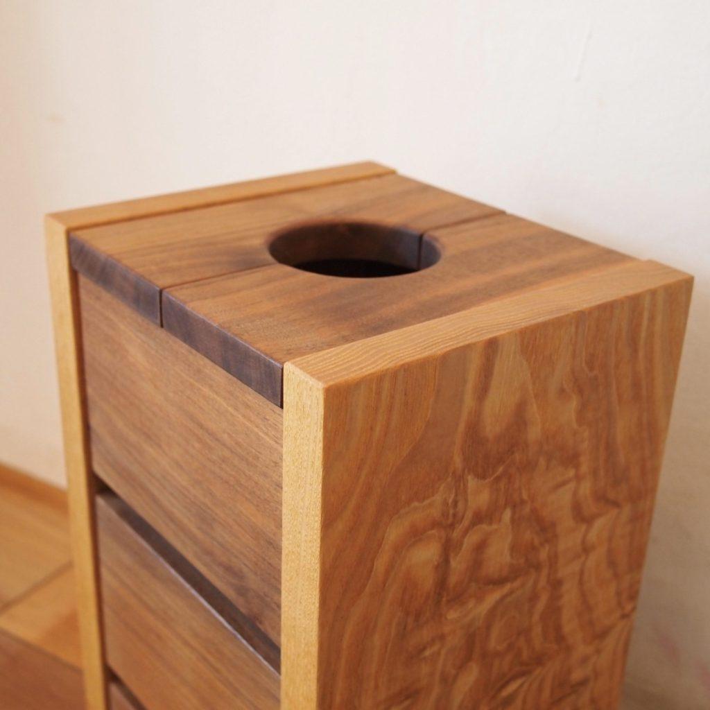 ゴミ箱 タモ玉杢 ウォールナット