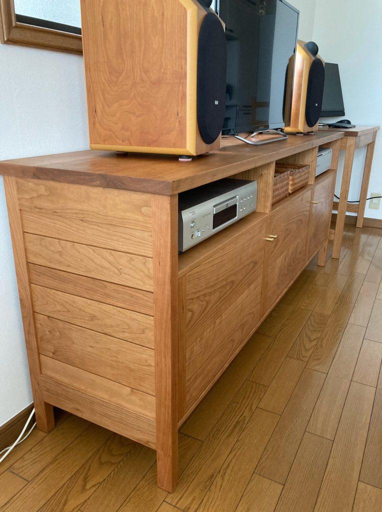 テレビボード 側板 スリット チェリー